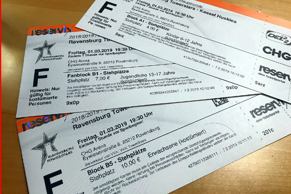 Ticket-Informationen aus dem Fanshop